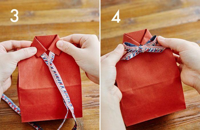 ③袋を裏返し、切り込みを入れた部分を中央で合わせるように折ります  ④Bを結び、適当な長さでタレ部分をカットした後、シャツの肩の部分を内側に折ります
