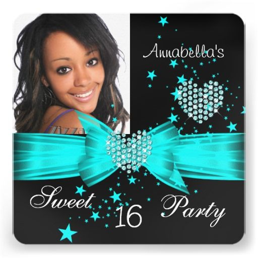 Teal Blue Sweet 16 Birthday Party Diamond Photo Personalized Invitations