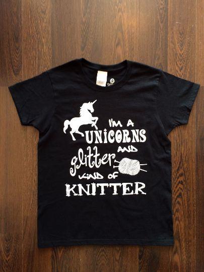 Unicorns and Glitter Kind of Knitter Ladies Tee Shirt - Black