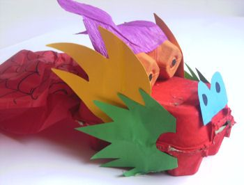Make a dragon out of an egg carton for Chinese New Year!