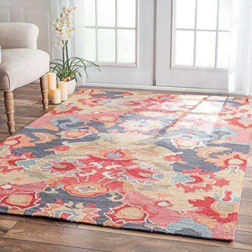 4' x 6' Handmade Carousel Flower Bouquet Color Area Rug Polyester Contemporary Decorative Shabby Chic Floral Bloom Bright Pretty Vibrant Rectangular #shabbychickitchencolors