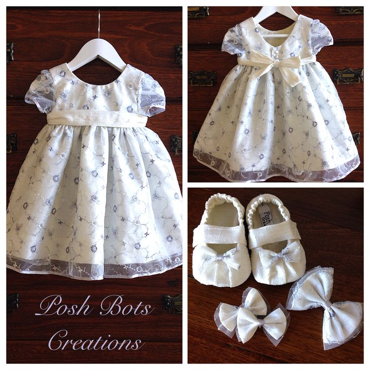 Dupioni Silk & embroidered lace makes a beautiful Christening outfit