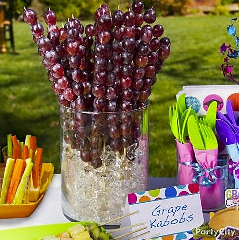 Party food is better on a stick! Grape kabobs disappear in no time ... make extra!