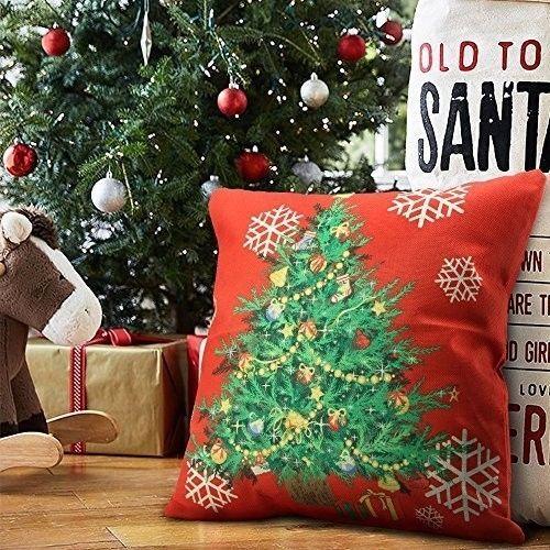 "Christmas Cushion Cover 18"" Decorative Cotton Linen Tree Design Xmas Case Red #easy_shopping08"
