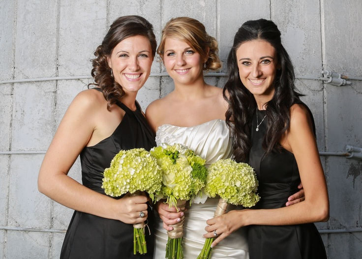 Green & White Bridal and Bridesmaids bouquets with white Hydrangeas, roses, lisianthus, dianthus, gladiolus, mini calla lily, hypericum, mini green hydrangea