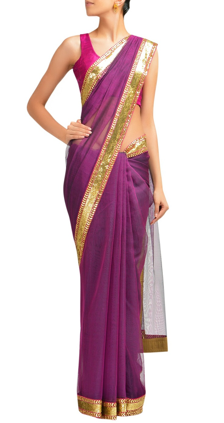 Sabyasachi Purple chanderi sari with gold sequin border.