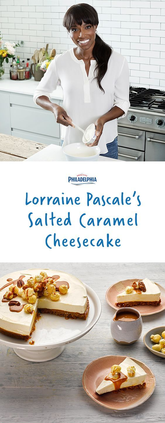 Vanilla creaminess, salted caramel and a popcorn topping make this cheesecake recipe by Lorraine Pascale a special treat.