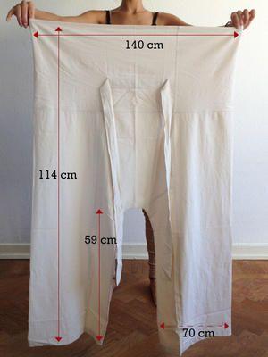 Thailändska fiskarbyxor, eller vad de nu heter. Pattern, measurements, trousers.