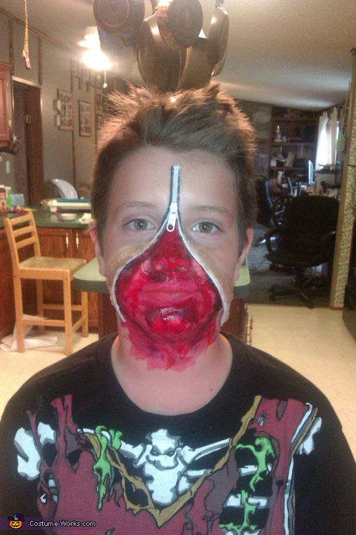 Desiree: my 9 yr old son chad, I saw the this at the store and had to do it I used a zipper laying around the house some liquid latex and...