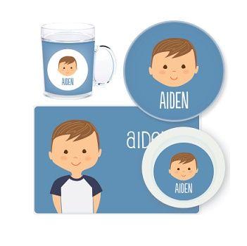 Boy Face Personalised Kids Mealtime Set $32.95 - $39.95 #sweetcreations #baby #toddlers #kids #personalised