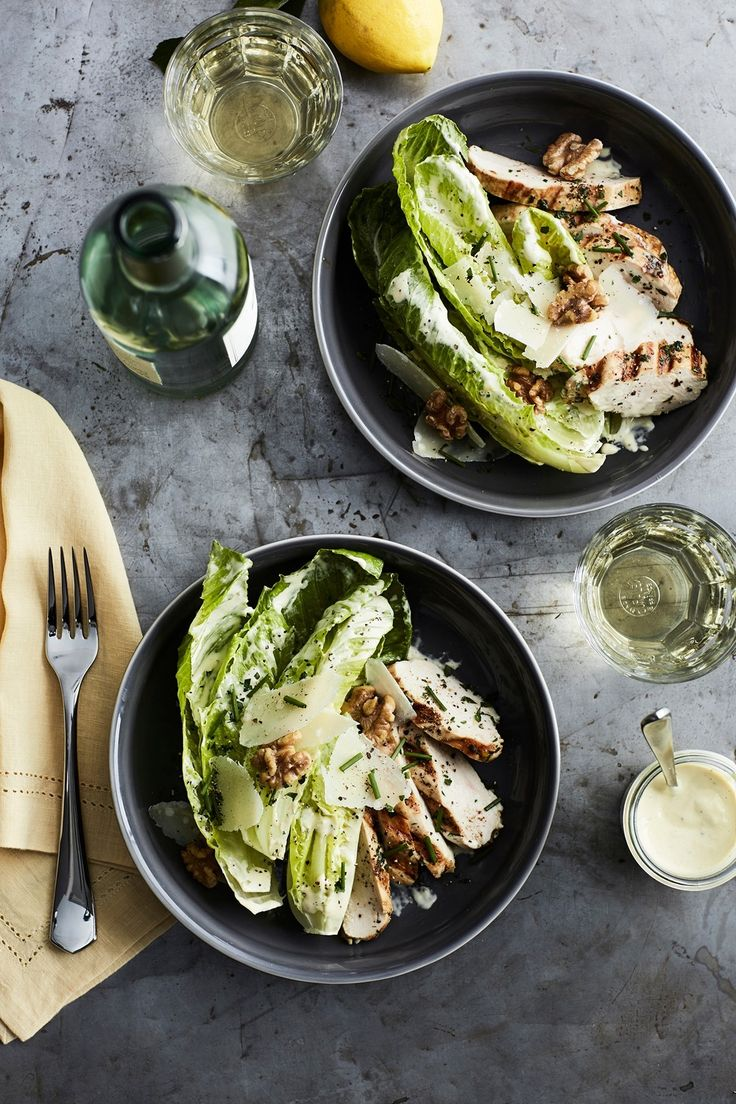 A classic Caesar salad becomes a satisfying meal when topped with grilled chicken.