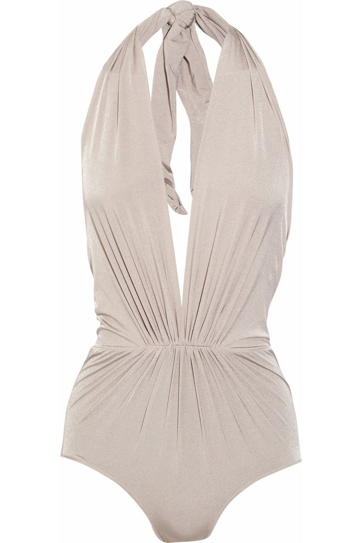 @Katie Hrubec Thomas you would rock this..... | Clube Bossa | Ruched plunge-front halterneck swimsuit | NET-A-PORTER.COM