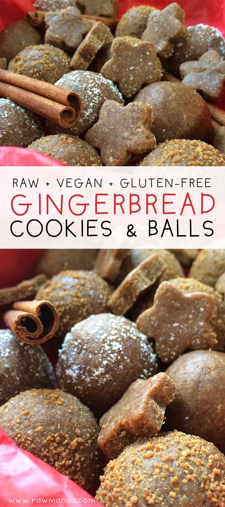 Raw Gingerbread Cookie Recipe (Vegan,Gluten-Free) - This gingerbread cookie dough is moist with a delicious chewy center. Perfect for staying healthy during the holidays, the warm gingerbread spices really sing in the recipe when eaten raw there's no need for any baking. @rawmanda