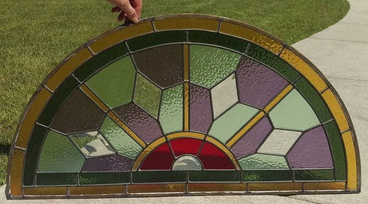 Stained Glass Geometric Half Moon Window Panel with Bevels by SunshineSuncatchers on Etsy