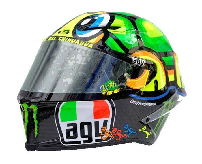 Valentino Rossi Turtle Helmet (Mugello 2013): Valentino Rossi revealed a new design at Mugello called The Turtle, or Tartaruga – it was created as a tribute to one of his earliest racing mascots, and also served as a self-mocking reference to the fact that he was struggling to be as fast as the leading three riders of Lorenzo, Pedrosa, and Marquez. http://rossihelmets.com/valentino-rossi-turtle-aka-tartaruga-helmet-mugello-2013/