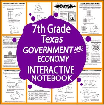 Seventh Grade TEKS-aligned INTERACTIVE NOTEBOOK Unit with 7 COMPLETE engaging nonfiction informational text lessons, a balanced mix of higher and lower level hands-on activities, and EIGHTEEN Interactive Notebook assignments designed to teach students about Texas Government and Economy.