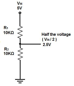 Voltage divider circuit with half the voltage