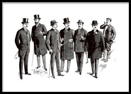 Vintageplakat i sort-hvid med mænd fra århundredeskiftet.