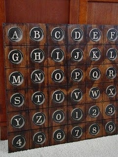 PB inspired typewriter key art made by staining a wooden board and mod podging