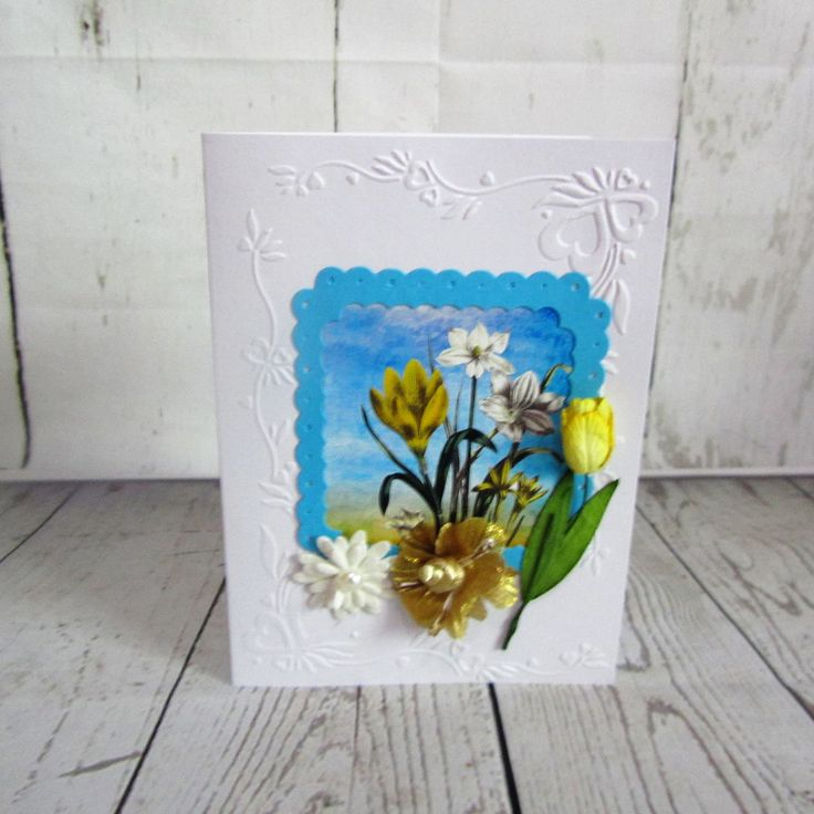 Exquisite embossed female birthday card with gorgeous flowers.  Free postage