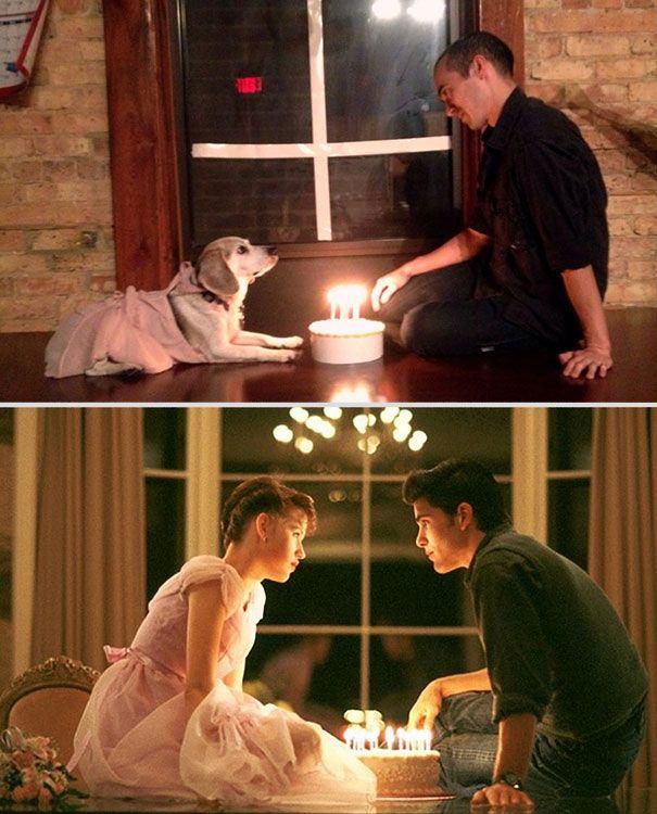 Homem recria cenas românticas de 11 filmes com um cachorro.