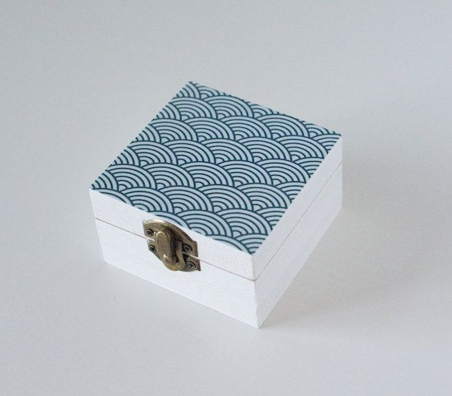 Handmade decoupaged box with scallop/wave deisgn - white and blue by Gurdey on Etsy