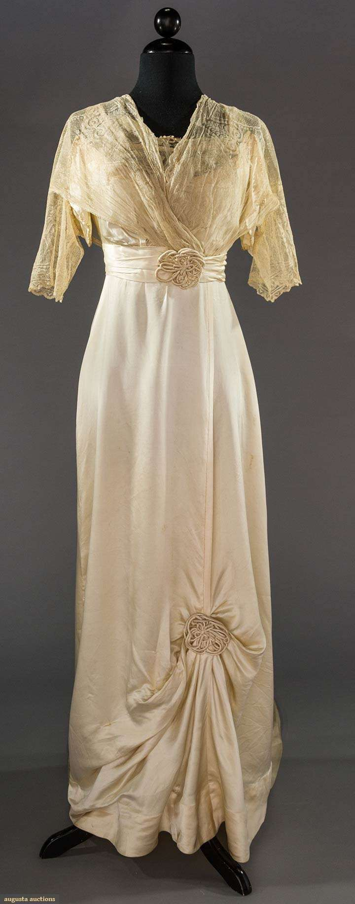 Wedding Gown (image 1) | 1912 | silk charmeuse | Augusta Auctions | May 11, 2016/Lot 2144