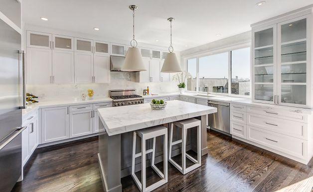 Kitchen Oak Cabinets White Counter Gray Floor