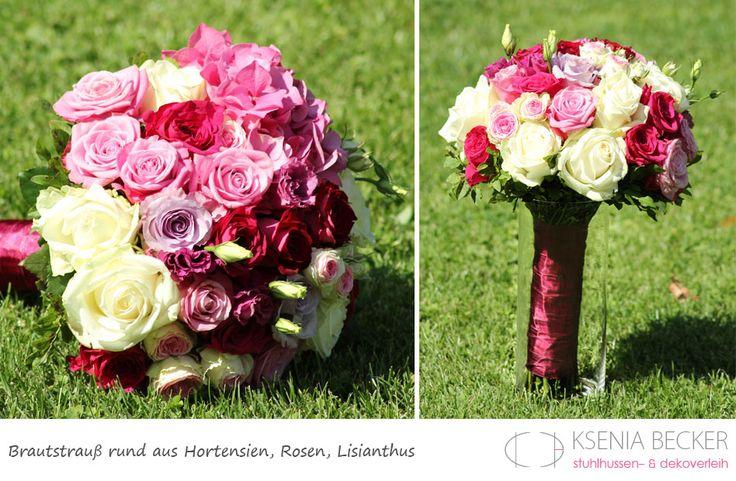 Brautstrauss Rund Hortensien Rosen Lisianthus Beere Pink
