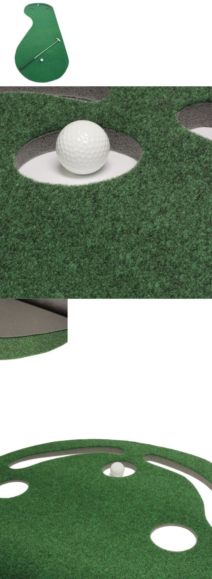 Nets Cages and Mats 50876: Indoor Golf Simulator Practice Putting Green Mat Game Par 3 Holes Training Aid BUY IT NOW ONLY: $59.95