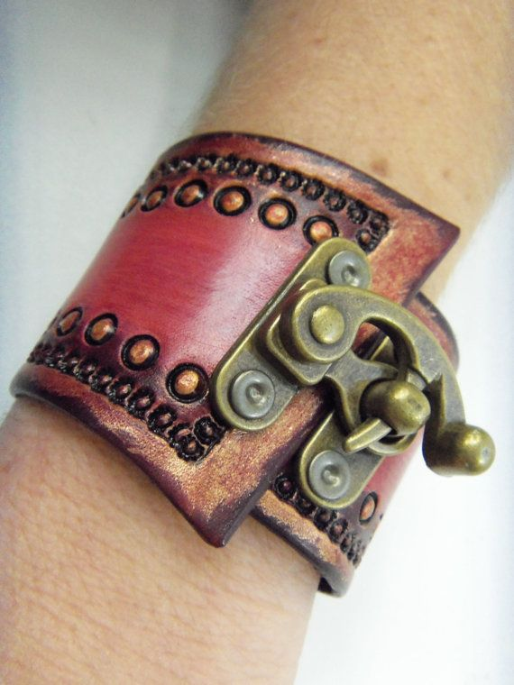 Flamingo Pink Steampunk Tooled Leather Wrist Cuff with Antiqued Brass Clasp