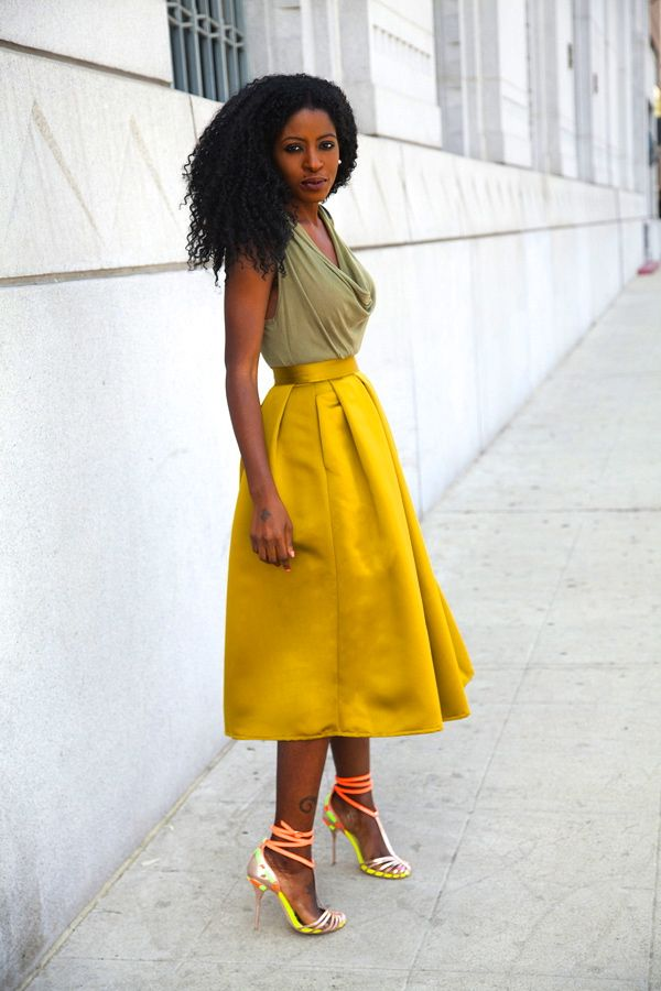 Style Pantry | Cowl Neck Blouse + Moss Box Pleat Skirt