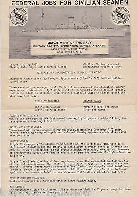 US NAVY CIVILIAN SEAMAN VINTAGE KOREAN WAR ERA GRAPHIC MILITARY JOBS POSTER