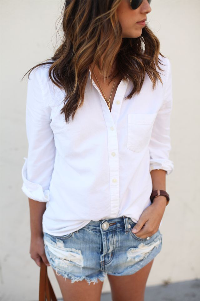 button up with ripped cut offs