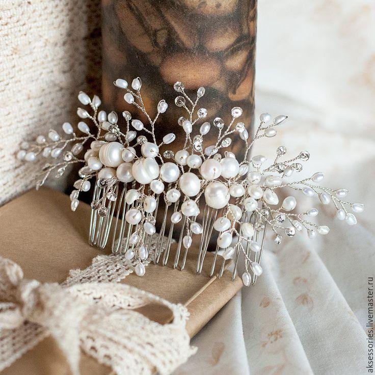 Купить Гребень свадебный из натурального жемчуга - серебряный, гребень для волос, гребень, гребень для невесты