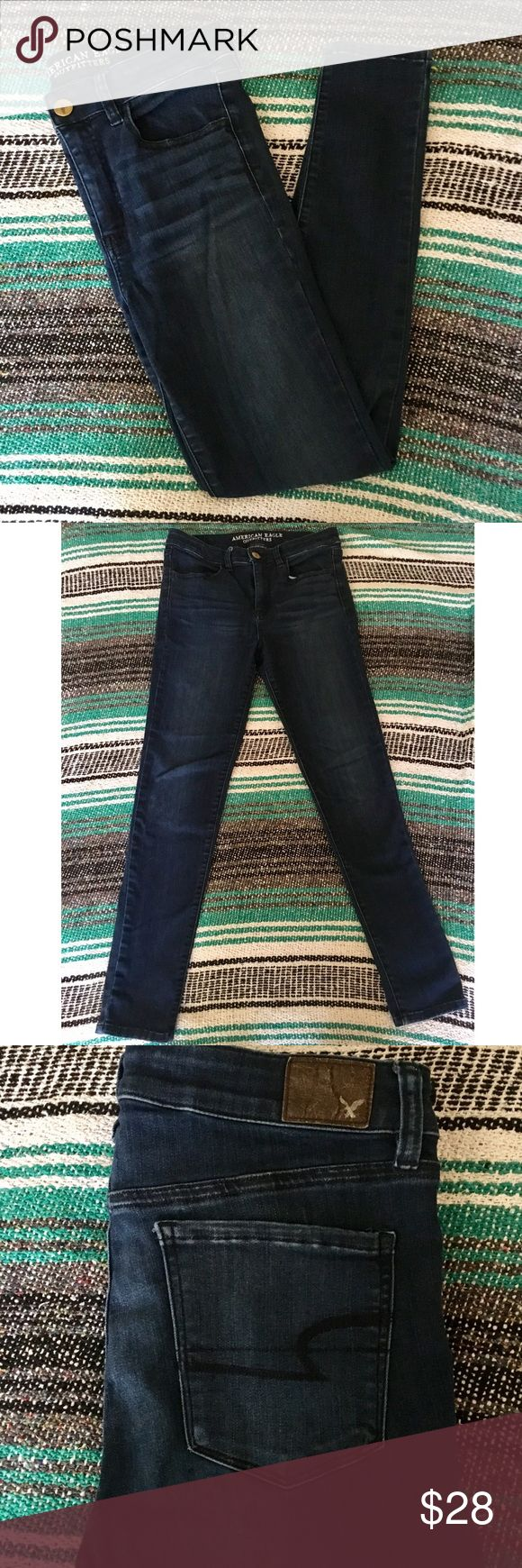 American Eagle Hi Rise Jeggings (size 8) Hi Rise Dark wash Jeggings from American Eagle. Women's size 8! These pants are skinny fit, made of soft super stretch jegging material and are a beautiful dark wash denim! Fits true to size. Only worn 4/5 times, hand washed only and never dried!! In EXCELLENT CONDITION! American Eagle Outfitters Jeans Skinny