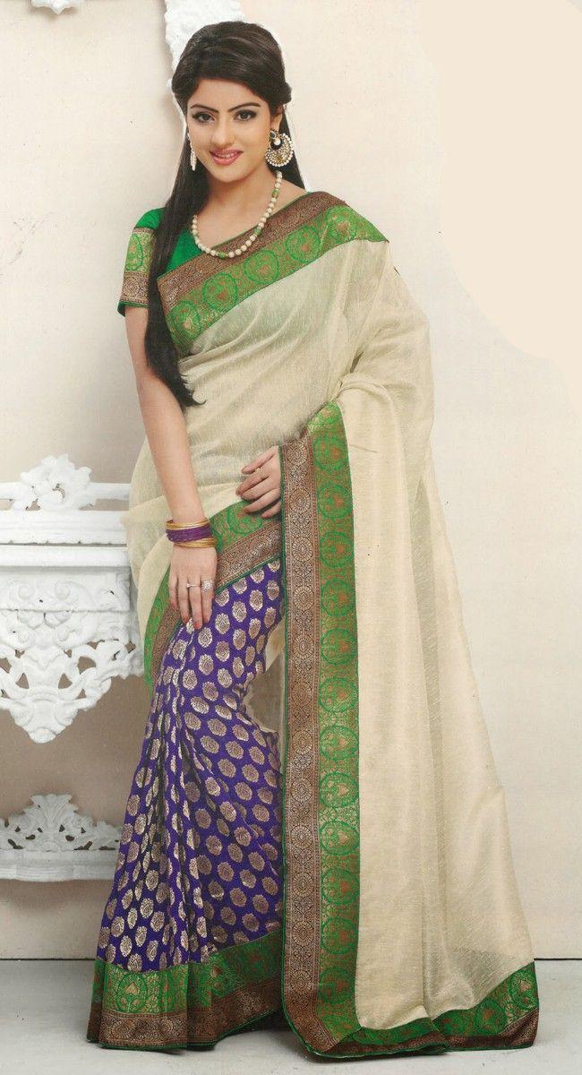 Elegant Deep Purple & Off White Embroidered #Saree