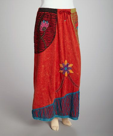 Love this Rust & Turquoise Embellished Maxi Skirt - Plus on #zulily! #zulilyfinds