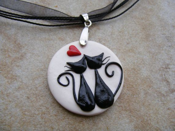 Black Cats in Love Polymer  Clay Pendant Necklace. $24.99, via Etsy.