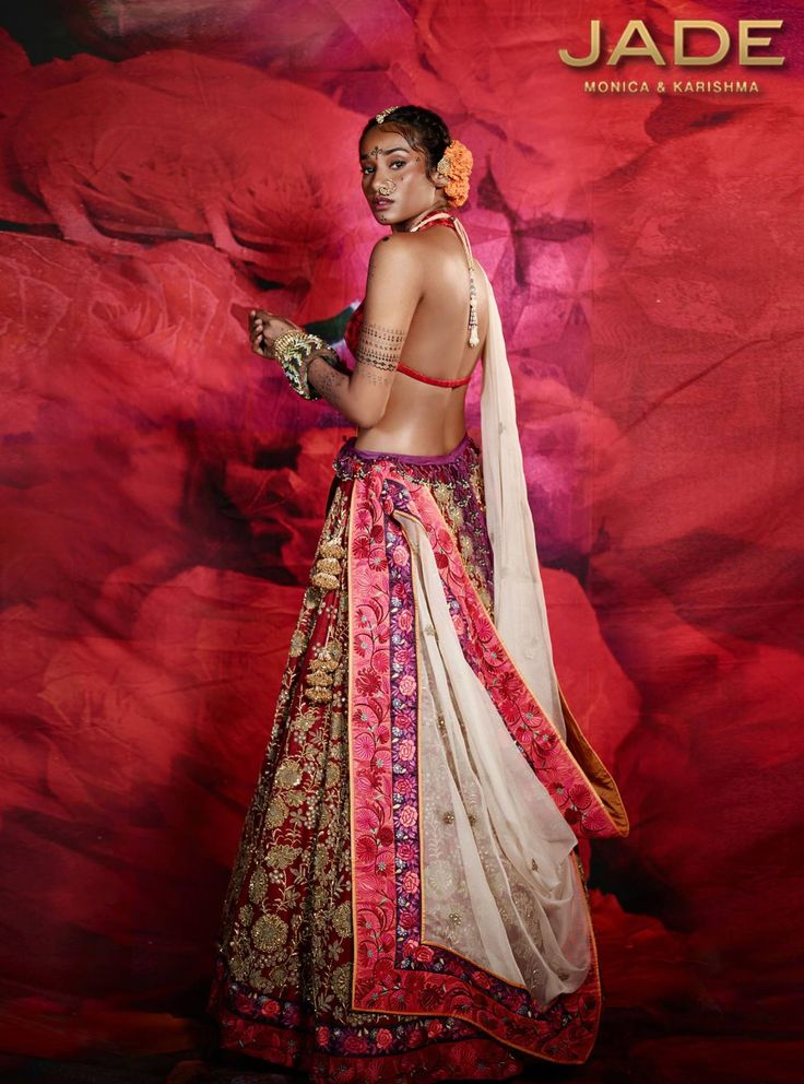 Jade By Monica & Karishma Winter Festive 2015 Red Embroidered #Lehenga With Off-White Embroidered Dupatta.