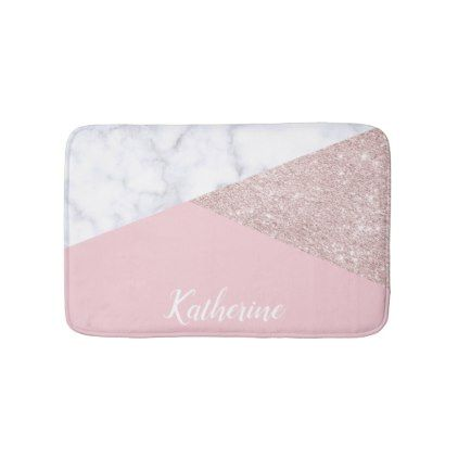 Elegant girly rose gold glitter white marble pink bath mat - glitter gifts personalize gift ideas unique