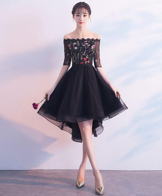 ad70b148fe Black tulle lace prom dress