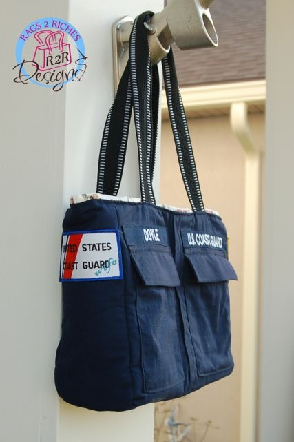 Coast Guard Uniform Bag :D I need to stop finding inspiration to chop up his shirt... I only have one right now. Haha.