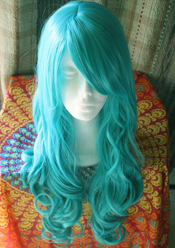 Handmade Mermaid Wig Blue Hair Teal Hair Mermaid by Cloud9Jewels