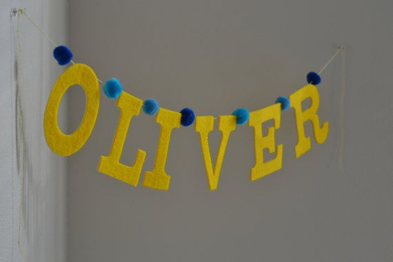 Pom Pom Garland Baby Name Banner / Yellow Felt & Ombre Blue Poms / Other Colors Options Available / Custom Personalized Party Banners