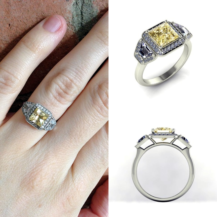 We love this 1.64 carat natural yellow sapphire and the diamonds surrounding it! Who said only diamonds were a girl's best friend? Definitely not this custom Kimberfire ring.
