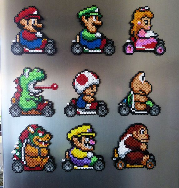 Mario Kart magnets hama beads by Pixel Nerd