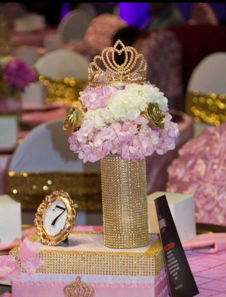 Pretty pink and gold centerpiece at a princess birthday party! See more party planning ideas at CatchMyParty.com!
