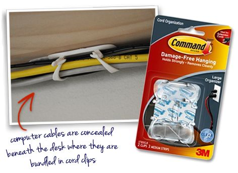 Conceal cables and cords under a desk with Command Cord Organizer Clips