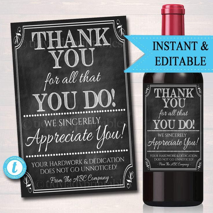 Appreciation wine label thank you gift coworker employee